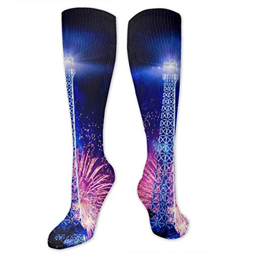 Blue Tower Salute Holiday Polyester Cotton Over Knee Leg High Socks Printed Unisex Thigh Stockings Cosplay Boot Long Tube Socks for Sports Gym Yoga Hiking Cycling Running Travel
