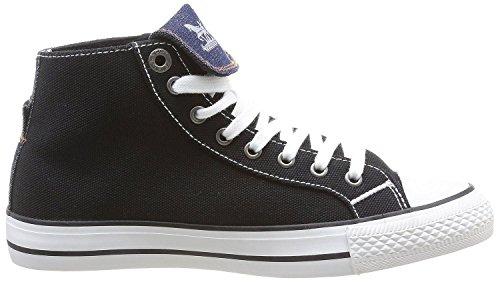 Levi's Manlo Park Nero Bianco Canvas Donna Hi Fold Sneaker Scarpe Stivali
