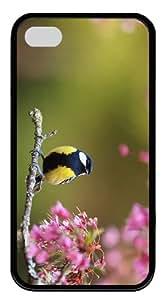 retro cover bird spring flowers TPU Black Case for iphone 4/4S