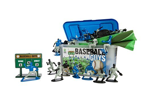 Football Figurine Player - Kaskey Kids Baseball Guys: Blue vs Black - Inspires Imagination with endless hours of creative, open-ended play - 2 Full Teams and Accessories. Perfect gift for the young Baseball fan. 25+ pieces. 3+