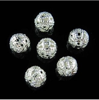6,8,10,12mm) Silver Plated Round Filigree Hollow Spacer Beads DIY (12mm) ()