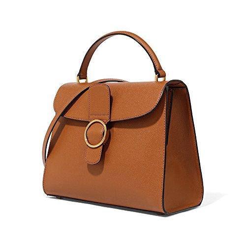 Charles & Keith PU Circular Buckle Handbag Crossbody Bag Shoulder Handbag Medium Size 17SS (Color Cognac)