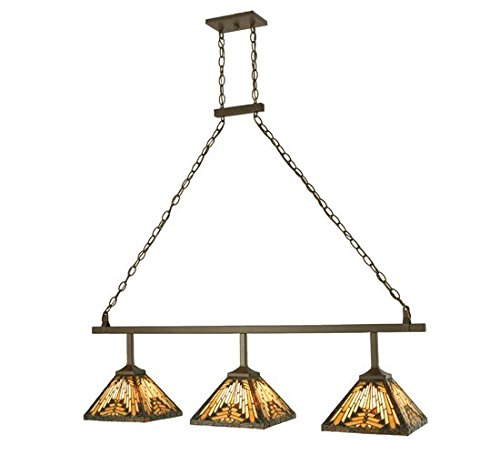 Meyda Tiffany Custom Lighting 73874 Nuevo Mission 3-Light Island Pendant, Cafe Noir Finish with Stained Art Glass - Custom Billiard Lamp Glass Stained