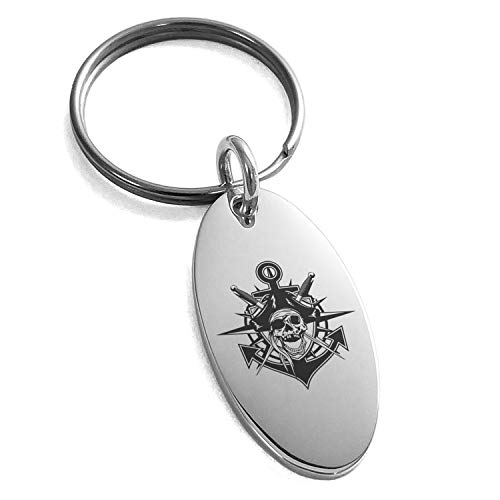 - Tioneer Stainless Steel Jolly Roger Pirate Skull Anchor Engraved Small Oval Charm Keychain Keyring