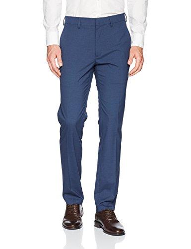 (Kenneth Cole REACTION Men's Glen Plaid Slim Fit Flat Front Dress Pant, Navy, 31Wx30L)