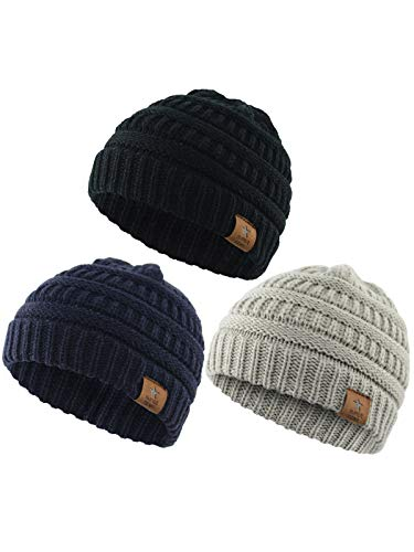 (Century Star Fashion Baby Knit Hat Boys Infant Toddler Beanies Cute Winter Hats for Baby Unisex 3 Pack Black&Light Grey&Navy)