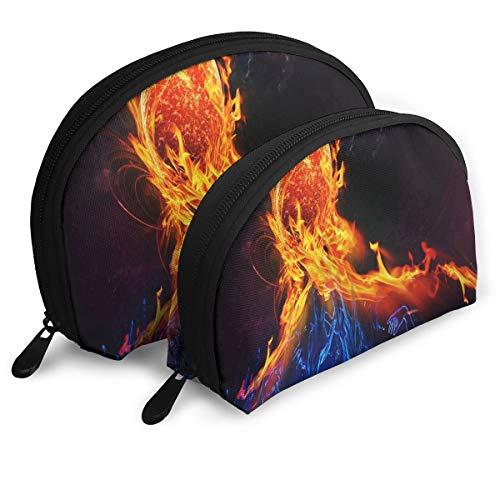 Makeup Bag Fire And Ice Portable Shell Storage Bag For Mother Halloween Gift 2 Pack