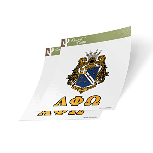 Desert Cactus Alpha Phi Omega Crest & Letter 2-Pack Sticker Decal Greek for Window Laptop Computer Car apo (Crest Sticker)