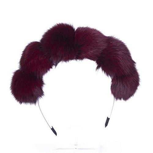 Price comparison product image MONOMONO-Fashion Pom Fur Ball Women Girls Headband Hair Band Winter Gifts (wine)