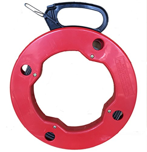 ezitown Cable Puller Steel Wire Reusable Electrical Fish Tape Reel Depth Finder with High Impact Case 100ft Red Black Flexible Metal Leader 3mmx1.5mm 3/25 x 1/15 by ezitown