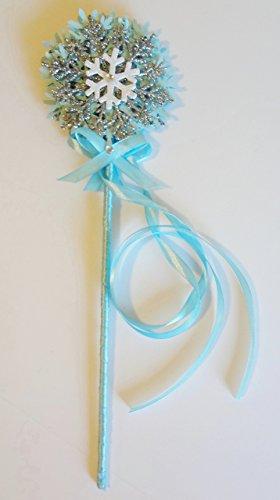 Princess fairy wand Snowflake Blue White Glitter Ribbon Ice Handmade Birthday Party Halloween Costume Prop Magic Dress up Favor Gift -
