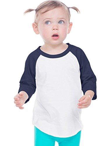 Kavio! Infant Jersey Contrast Raglan 3/4 Sleeve White/Navy 18M