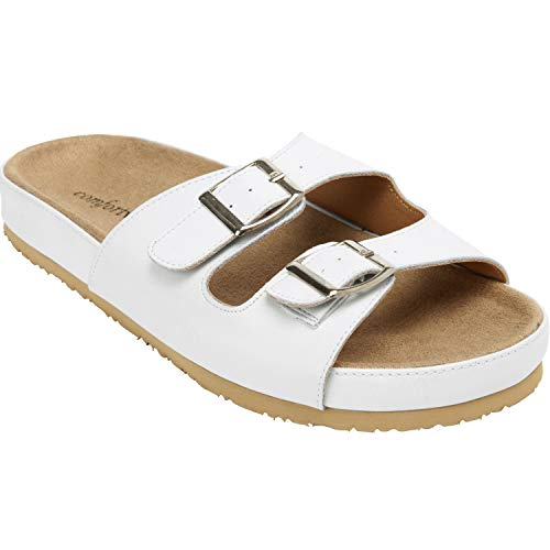 Comfortview Women's Plus Size Maxi Footbed Sandal - White, 10 ()