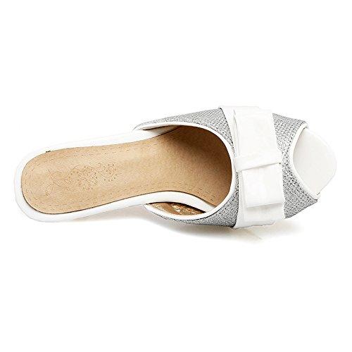 JOJONUNU Silver Femmes Toe Mules Sandales Peep pgpXFrRWdq