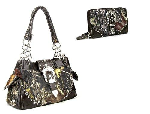 DH JP Camo Bling Rhinestone Buckle Shoulder Bag Purse Zipper Wristlet Wallet Set (Brown)