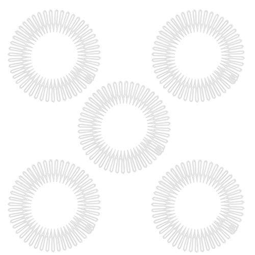 5 pcs set Hair Comb Headbands Stretch Flexible Plastic Circle (Transparent) (Combs Headband Hair)
