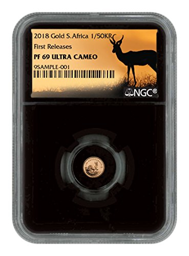 2018 ZA 1/50 oz Gold Proof Coin UC FR Black Core Holder E 0.02 Krugerrand PF69 NGC ()