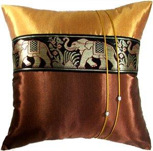 Artiwa® Large Thai Elephants Throw Decorative Accent Silk Pillow Case 20x20 inch Brown & Gold