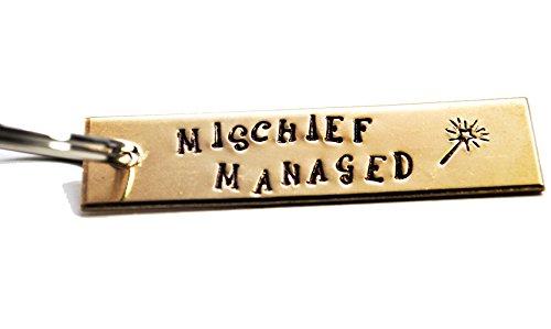 Hand Stamped Golden Brass Keychain - Harry Potter Inspired - Mischief Managed