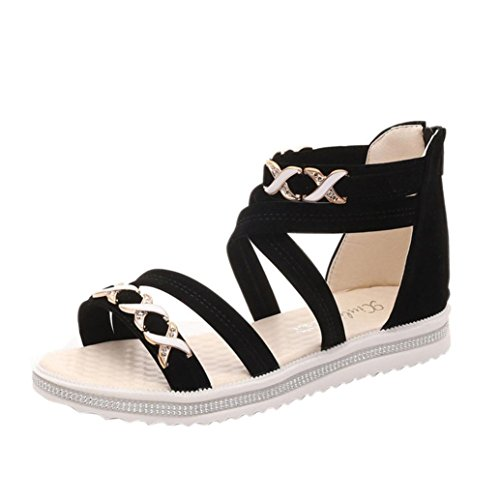Sandalen Damen Sommer, Sannysis Frauen flache Schuhe Sommer weiches Leder Freizeit Damen Sandalen (39, Schwarz) Schwarz