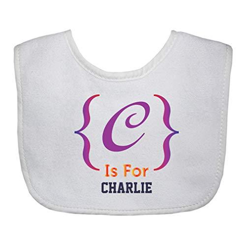 Personalized Custom Alphabet Decoration Letter Block Cotton Boys-Girls Baby Terry Bib Gingham Trim - White, One Size