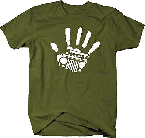 Jeep Wave Hand Grill Wrangler club handprint Mens T Shirt - Large