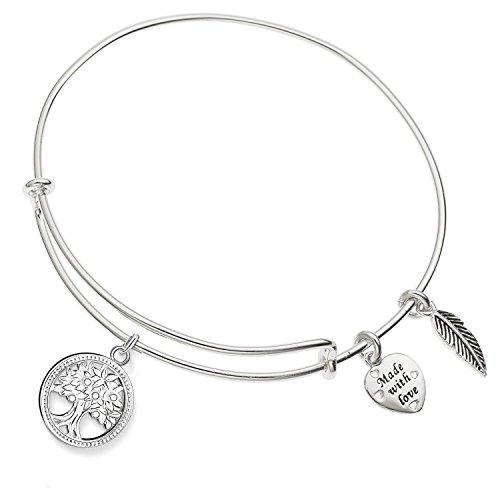 Enni of York Tree of Life Charm Expandable Ani-Silver Bangle Bracelet