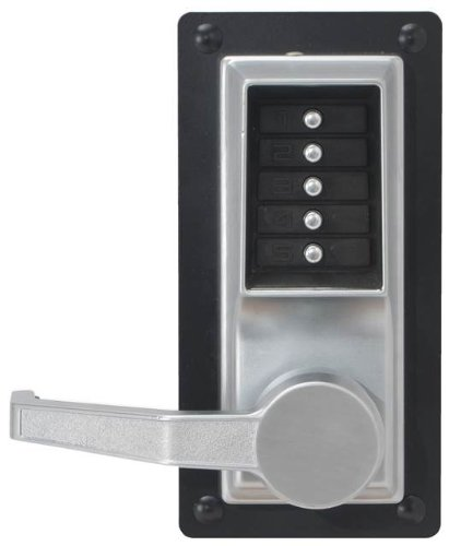 Kaba Simplex LP1000 Series Metal Mechanical Pushbutton Exit Trim Lock with Lever, Combination Entry Only, No Key Override, Satin Chrome Finish, Left Hand by Simplex