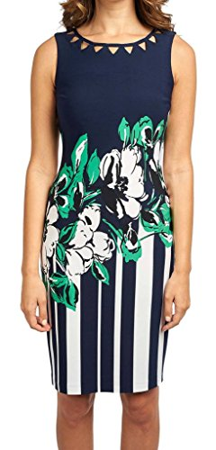 Joseph Ribkoff Navy & White Sleeveless Floral + Stripe Print Dress Style 172788 - Size 8