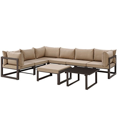 Modern Urban Contemporary 8 pcs Outdoor Patio Sectional Sofa Set, Brown Fabric Steel price