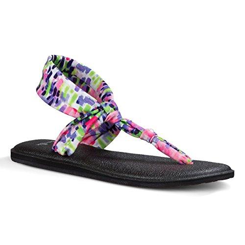 Sanuk Womens Yoga Sling Ella Prints Sandal Footwear Size 08 Iris (Canvas T-strap Sandals)
