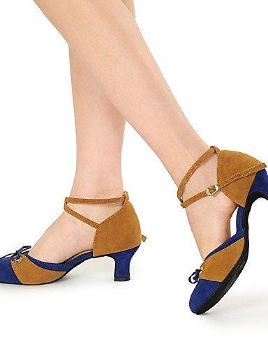 ShangYi Non Customizable Women's Dance Shoes Modern Flocking Chunky Heel Black/Blue/Red Tan CeUhjOBn