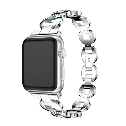 Blueseao Bracelet for Apple Watch, Women/Men Fashion Handmade Alloy Crystal Link Steel Bracelet Replacement Strap For iWatch Series 3 Compatible with Apple Watch 38MM (Blue-Silver, 38MM)