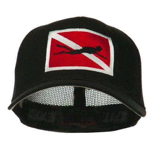 - e4Hats.com Scuba Diver Down Flag Embroidered Cap - Black OSFM