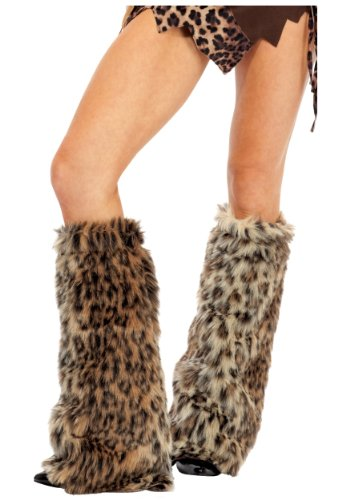 Animal Print Furry Leg Warmers Brown - Animal Print Sexy Leg