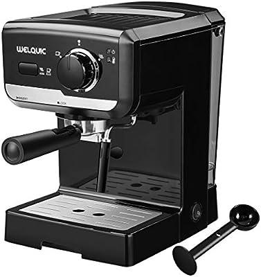 WELQUIC Máquina de Café con Bomba de 15 Barras, Control de Temperatura, Varita de Espuma de Leche, Cafetera Profesional para ...