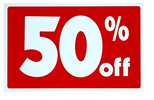 1 Set Inspiring Unique Sale 50% Percent Off Sign Plastic Cards Discount Customers Pricing Poster Store Retail Banner Window Vinyl Signs Homes Decals House Business Tags Clearance Price Size 7