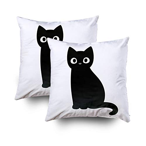 GROOTEY Sofa Pillow Case, Square Pillow Covers with Zip Couch Sofa Décor Cartoblack Cat Drawing Simple Cute Silhouette Halloween 16X16 Set of 2 Throw Cushion