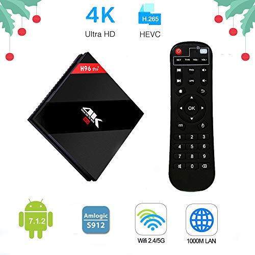 H96 Pro+ Android TV Box 7.1 OS Amlogic S912 Octa Core 1000M LAN 3D 4K Smart Android Box 2GB RAM 16GB ROM with Dual WiFi 2.4G 5G BT 4.1UHD Video Player