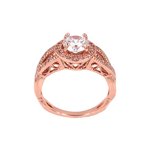 Lavencious Round Diamond Cut Eternity Love Twisting Split Shank Engagement Ring Size 5-10 Jewelry (Rose Gold, 5) Rose Gold 5 Stone