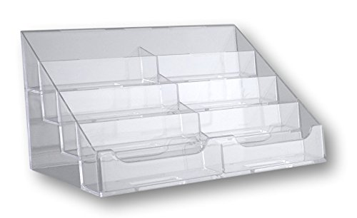 T'z Tagz Brand Clear Acrylic 8 Pocket Countertop Business Card Holder (Eight Plastic Pocket Desktop)