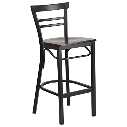 Flash Furniture HERCULES Series Black Ladder Back Metal Restaurant Barstool - Walnut Wood Seat - Ladder Back Wood Seat Stool