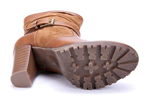 Schuhtempel24 Damen Schuhe Klassische Stiefeletten Stiefel Boots Trichterabsatz Schnalle 9 cm Camel