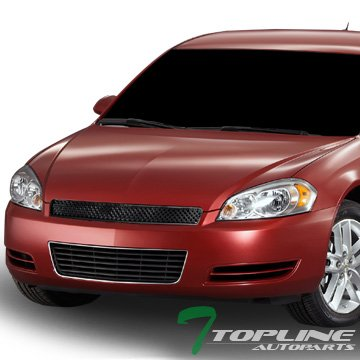 Topline Autopart Black Mesh Front Hood Bumper Grill Grille ABS For 06-13 Chevy Impala ; 14-16 Impala Limited ; 06-07 Monte Carlo ()