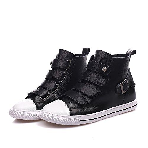 Shenn Femme Cheville Haute Boucle Classics Cuir Baskets Chaussures Noir FRmyuUYB4