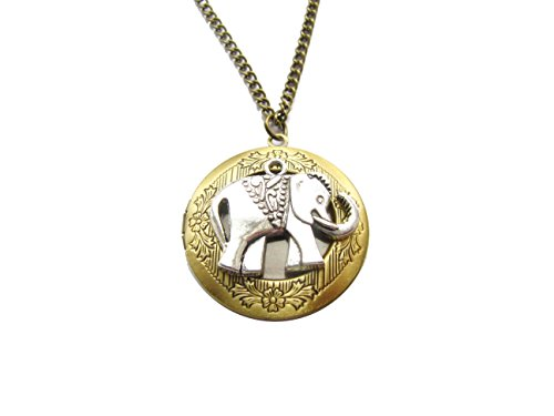 Elephant Locket, Vintage Brass Locket Necklace, Secret Locket, Antique Locket, Gift for Her