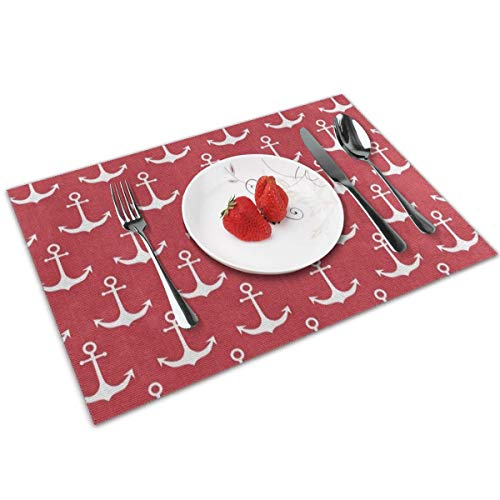 XMVCGJMHN-K Red Nautical Anchor Table Placemats Set of 4 Placemats for Table Heat-Resistant Skid-Proof Table Mats Dining Table Woven Stain Resistant Place Mat