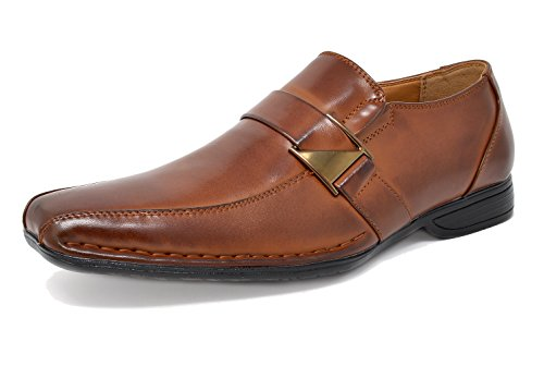 Bruno Marc Men's Giorgio-3 Brown Leather Lined Dress Loafers Shoes - 11 M - Leather Shoes Dress Loafers