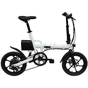 41PkOB91sCL. SS300 16in pieghevole E-Bike lega di alluminio ultraleggera Scooter portatile con rimovibile Grande capacità agli ioni di litio (36V 8AH), Freni a disco doppio bicicletta elettrica per il Commuter,Bianca