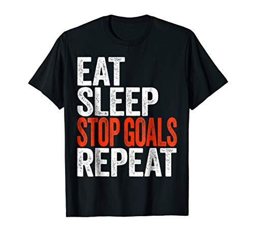 Jersey Graphic Goalkeeping (Eat Sleep Stop Goals Repeat T-Shirt Goalkeeper Gift Shirt)